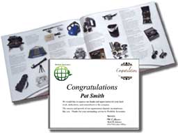 Gift Catalog and Congratulation letter