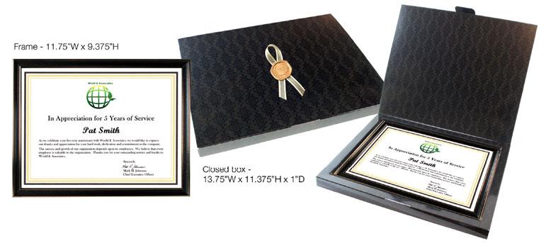 framed service award certificate
