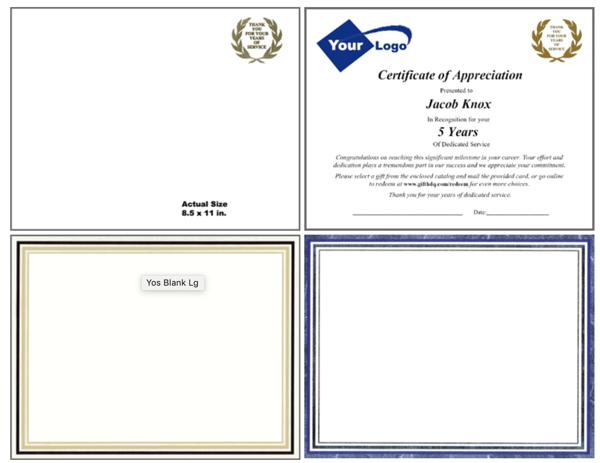 Service Award Certificates
